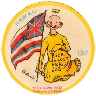 YELLOW KID RARE BUTTON 137 FOR HAWAII
