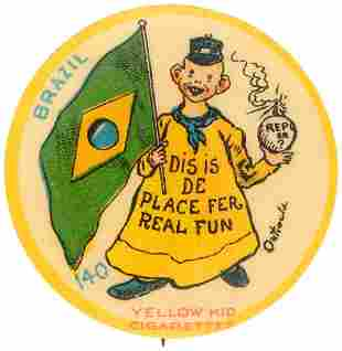YELLOW KID FLAG SERIES BUTTON 140 FOR BRAZIL