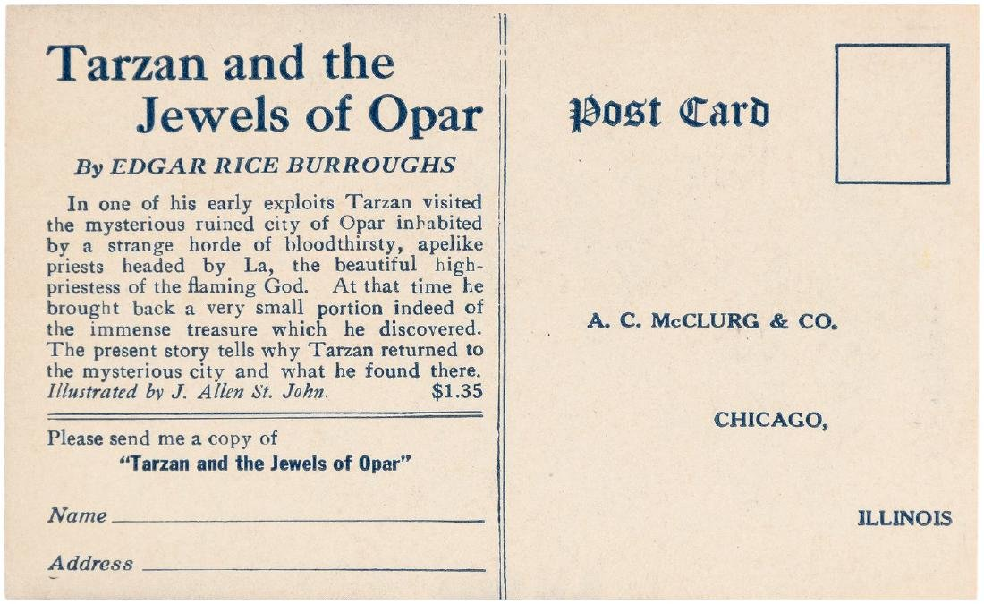 """""""TARZAN AND THE JEWELS OF OPAR"""" PROMOTIONAL POSTCARD. - 2"""