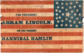 """IMPORTANT AND RARE """"FOR PRESIDENT ABRAM LINCOLN"""" 1860"""