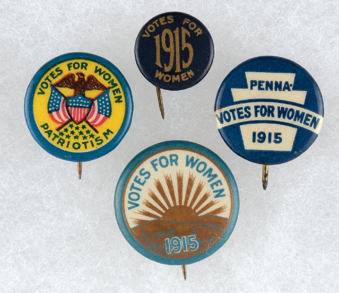 FOUR WOMEN'S SUFFRAGE 1915 BUTTONS.
