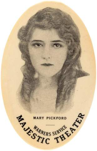 """MARY PICKFORD FIRST SEEN POCKET MIRROR NAMING """"WARNERS"""
