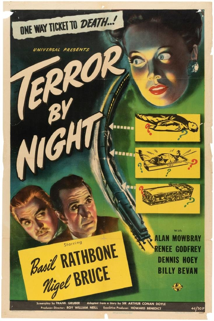 "SHERLOCK HOLMES ""TERROR BY NIGHT"" ONE SHEET MOVIE"