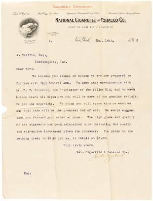 NATIONAL CIGARETTE 1896 LETTER INTRODUCES HIGH