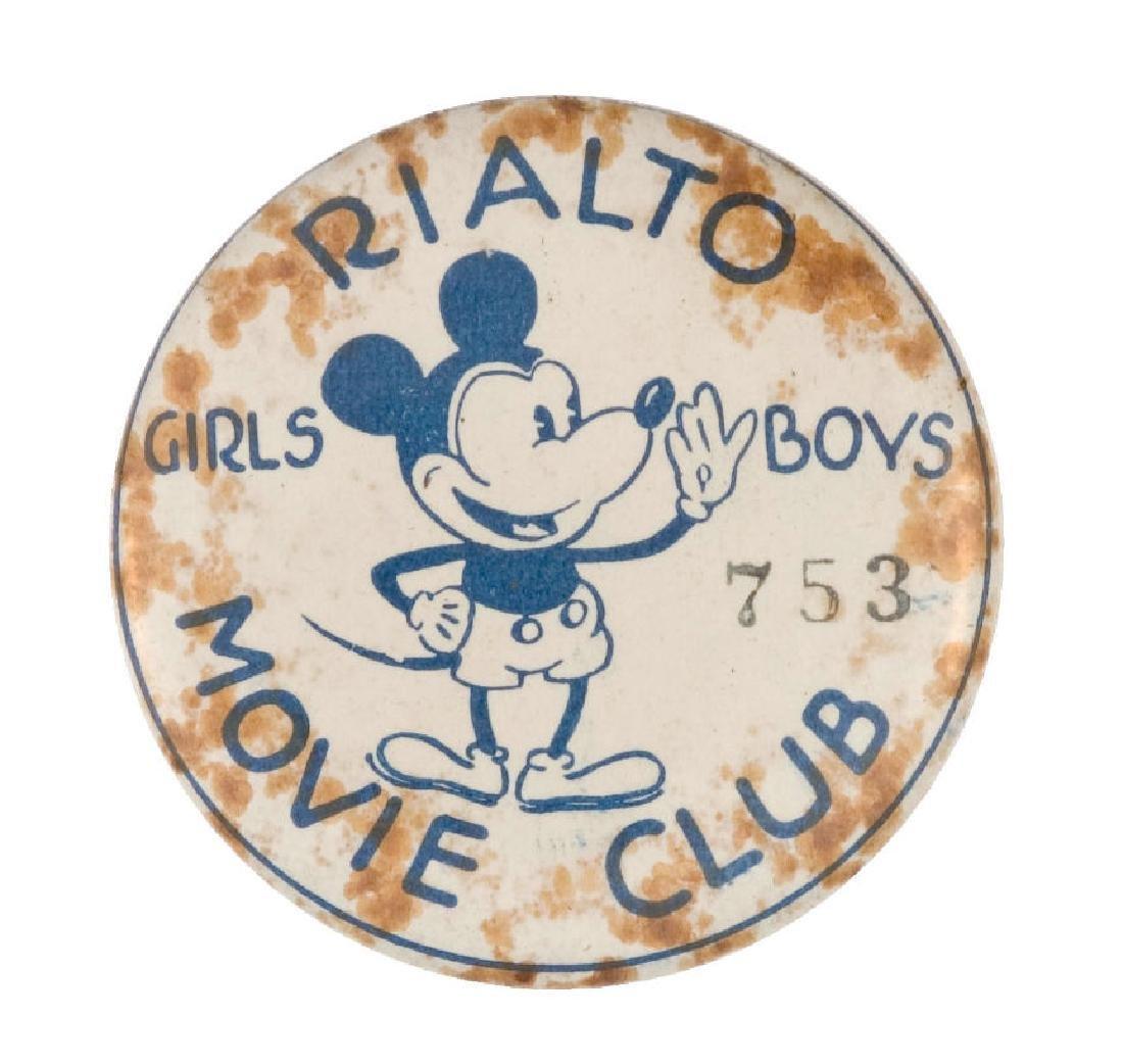 RARE AUSTRALIAN MICKEY MOVIE CLUB BUTTON WITH UNIQUE
