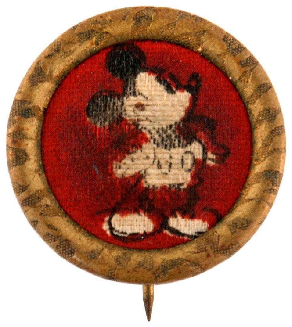 MICKEY IMAGE ON CLOTH WITH BRASS RIM BUTTON GIVEN WITH