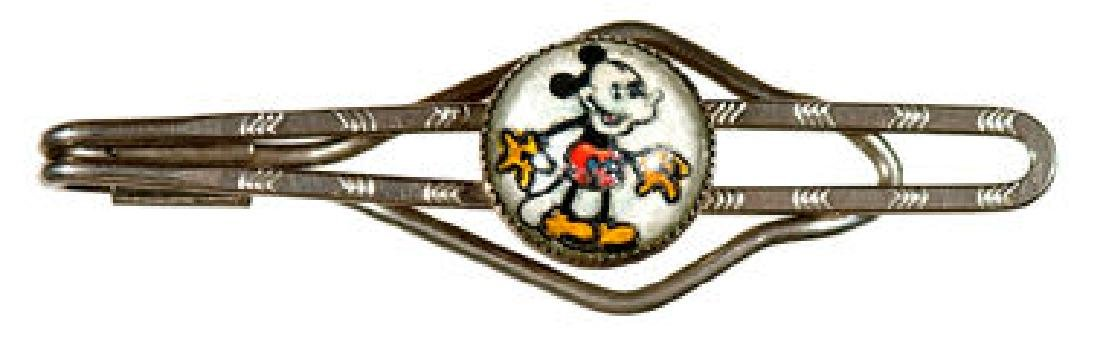 MICKEY MOUSE CHILD'S TIE BAR WITH IMAGE UNDER GLASS