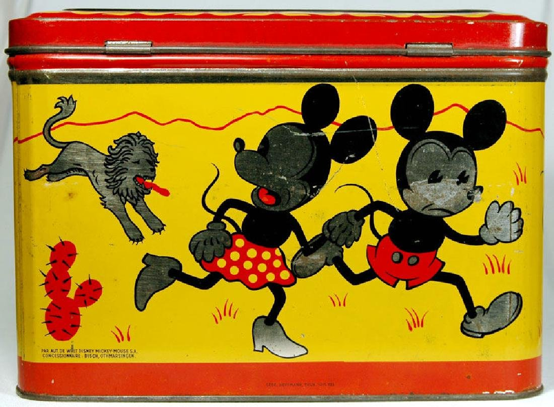 MICKEY AND MINNIE MOUSE LARGE 1930s TIN FROM