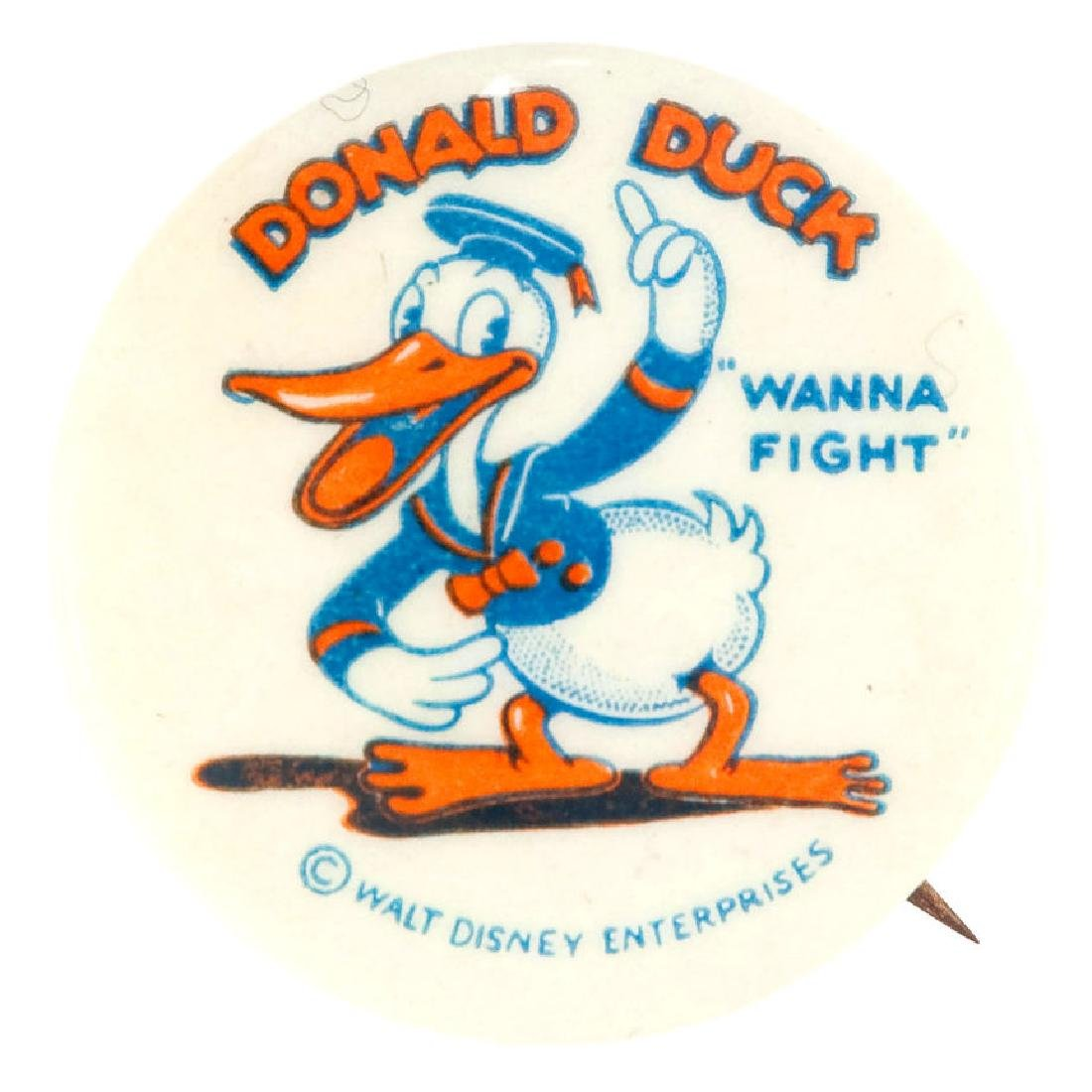 """""""DONALD DUCK 'WANNA FIGHT'"""" CLASSIC EARLY BUTTON IN"""