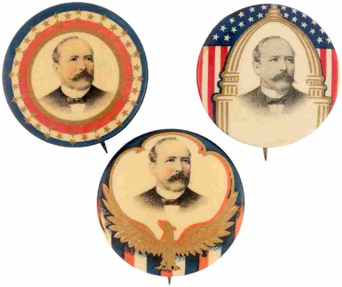 TRIO OF PARKER PORTRAIT BUTTONS INCLUDING US CAPITOL &