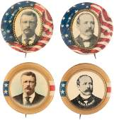 QUARTET OF ROOSEVELT & PARKER 1904 PORTRAIT BUTTONS.