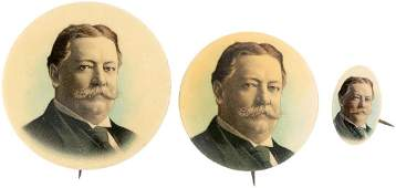 TRIO OF TAFT PORTRAIT BUTTONS INCLUDING UNCOMMON OVAL