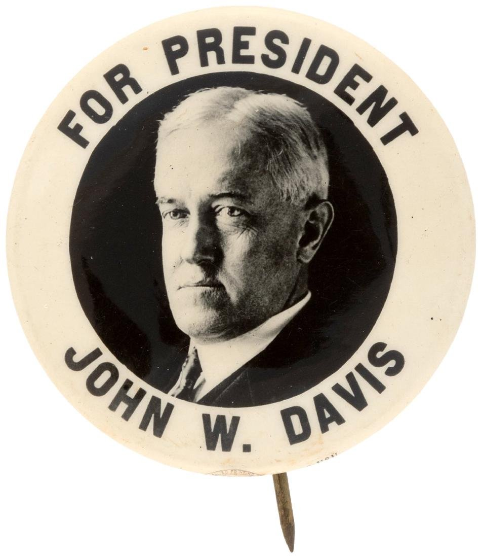 """FOR PRESIDENT JOHN W. DAVIS"" REAL PHOTO PORTRAIT"