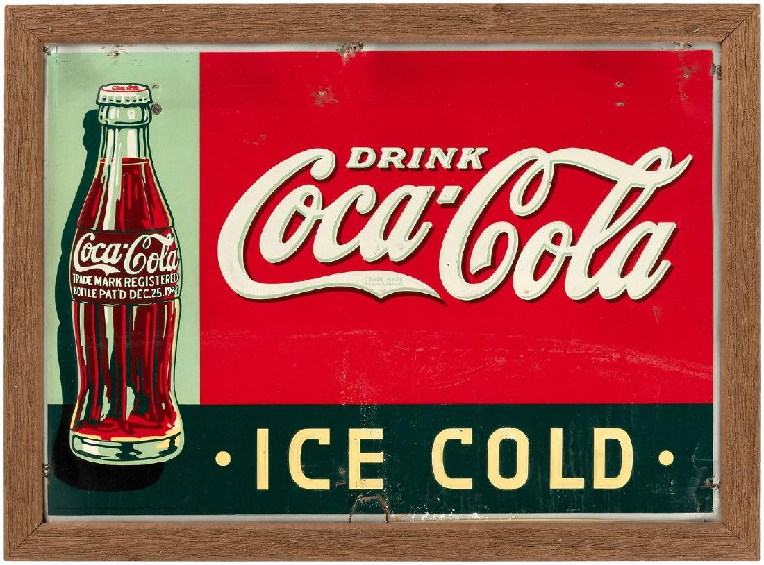 """DRINK COCA-COLA ICE COLD"" FRAMED 1936 TIN SIGN."