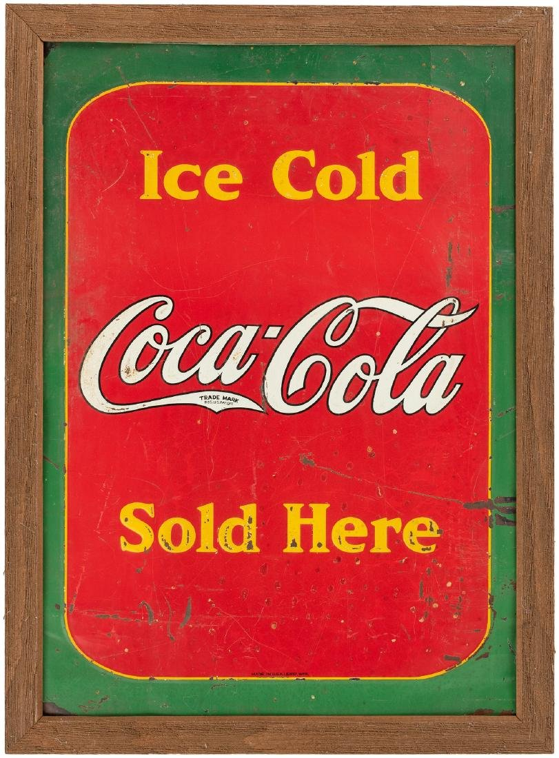 """""""ICE COLD COCA-COLA SOLD HERE"""" FRAMED 1937 TIN SIGN."""