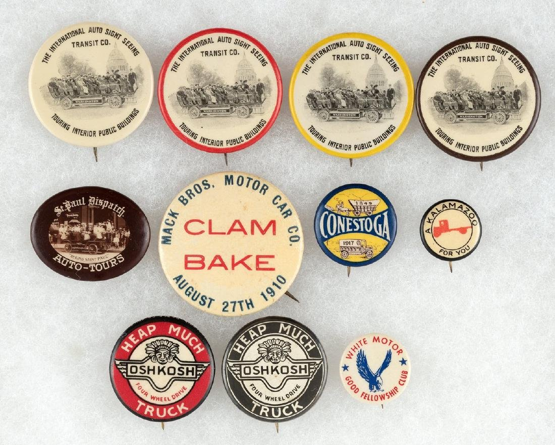 EARLY 1910 MACK TRUCK, OTHER TRUCK BUTTONS & EARLY