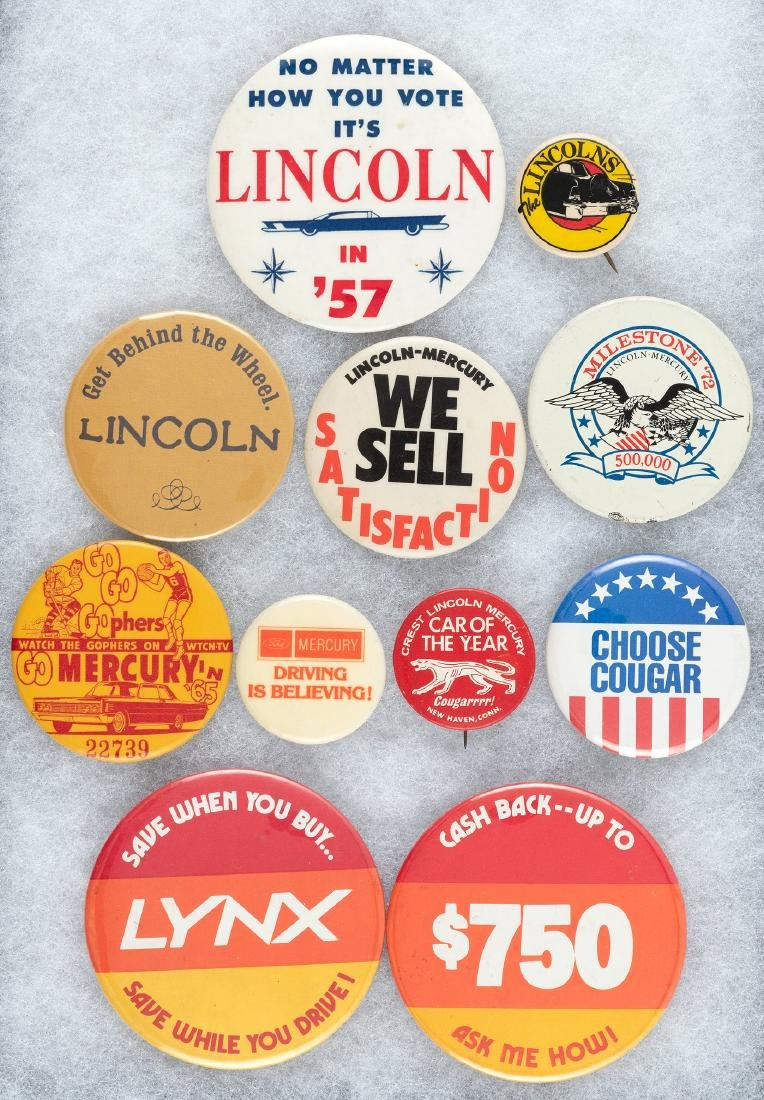 LINCOLN AND MERCURY 11 BUTTONS 1957 TO MID 1980s WITH
