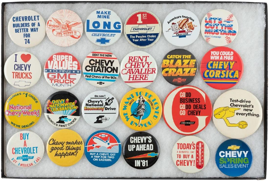 CHEVROLET CAR AND TRUCK BUTTONS (24) FROM THE