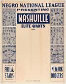 HISTORIC 1935 NEGRO LEAGUE BASEBALL BROADSIDE PICTURING