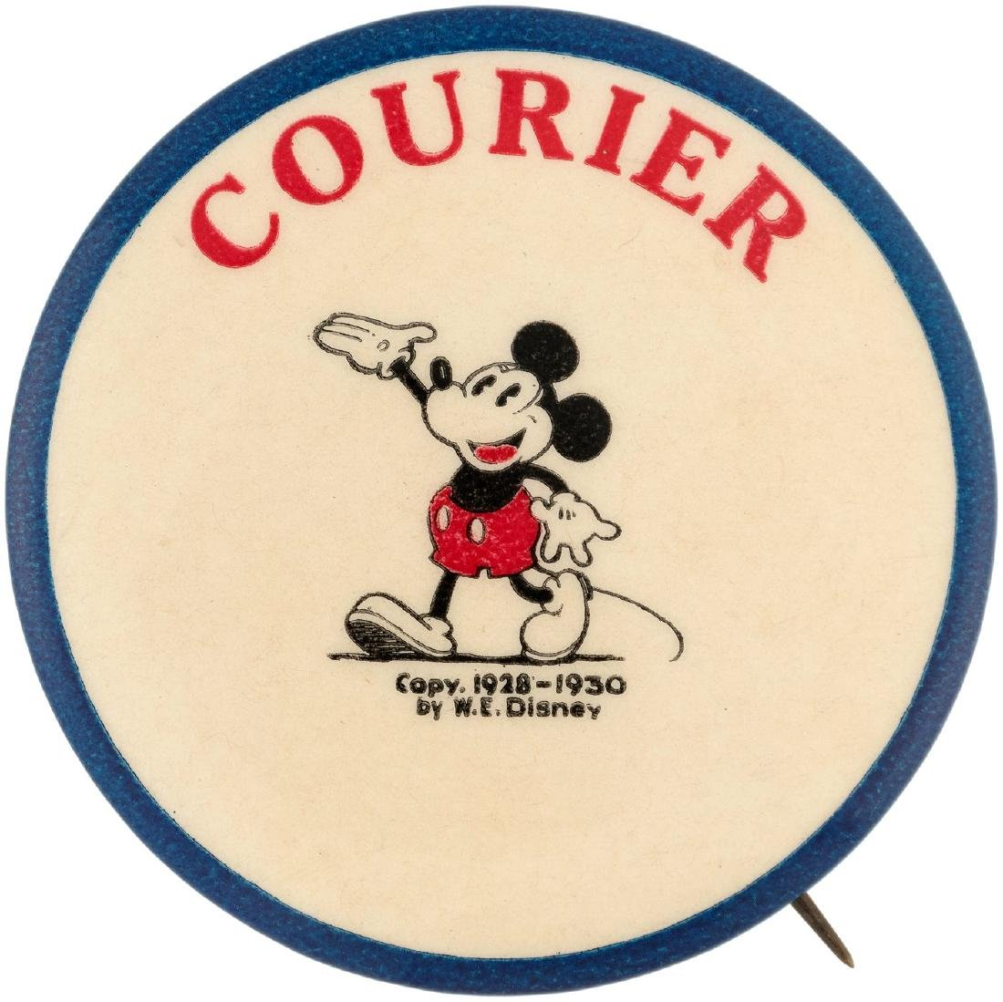 """MICKEY MOUSE """"COURIER"""" MOVIE THEATER CLUB BUTTON"""