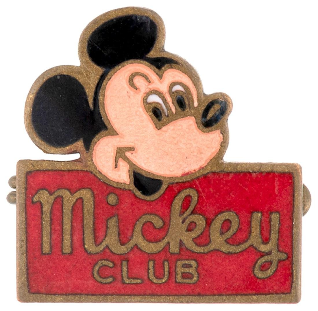 """MICKEY CLUB"" C. 1950s RARE GERMAN ENAMEL PIN WITH"