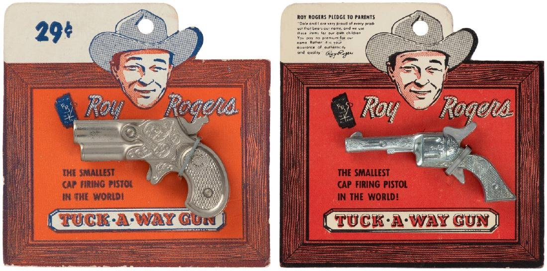 """ROY ROGERS SMALL HOLSTER SET & CARDED """"TUCK-A-WAY GUN"""""""