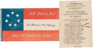 JEFFERSON DAVIS CONFEDERATE BALLOT AND LETTER COVER.
