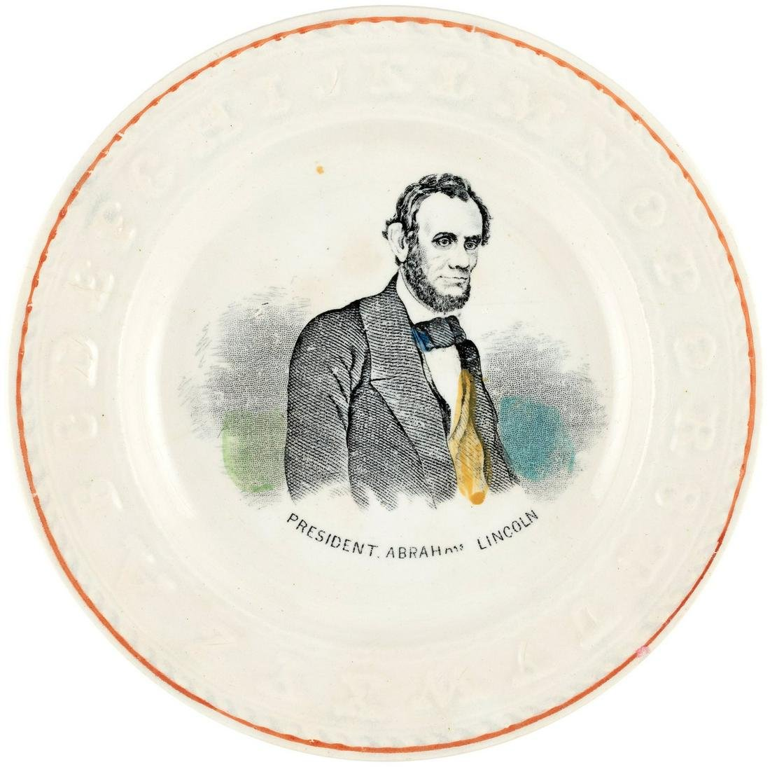 """LINCOLN """"ABC"""" CHILD'S PLATE FEATURING BEARDED PORTRAIT."""