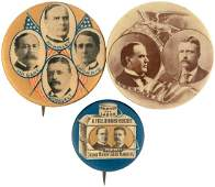 TRIO OF McKINLEY BUTTONS INCLUDING QUADGATE COATTAIL