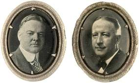 HOOVER AND SMITH PAIR OF OVAL CELLO PORTRAIT PIN-BACKS.