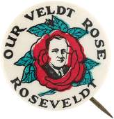RARE ROOSEVELT OUR VELDT ROSE REBUS BUTTON