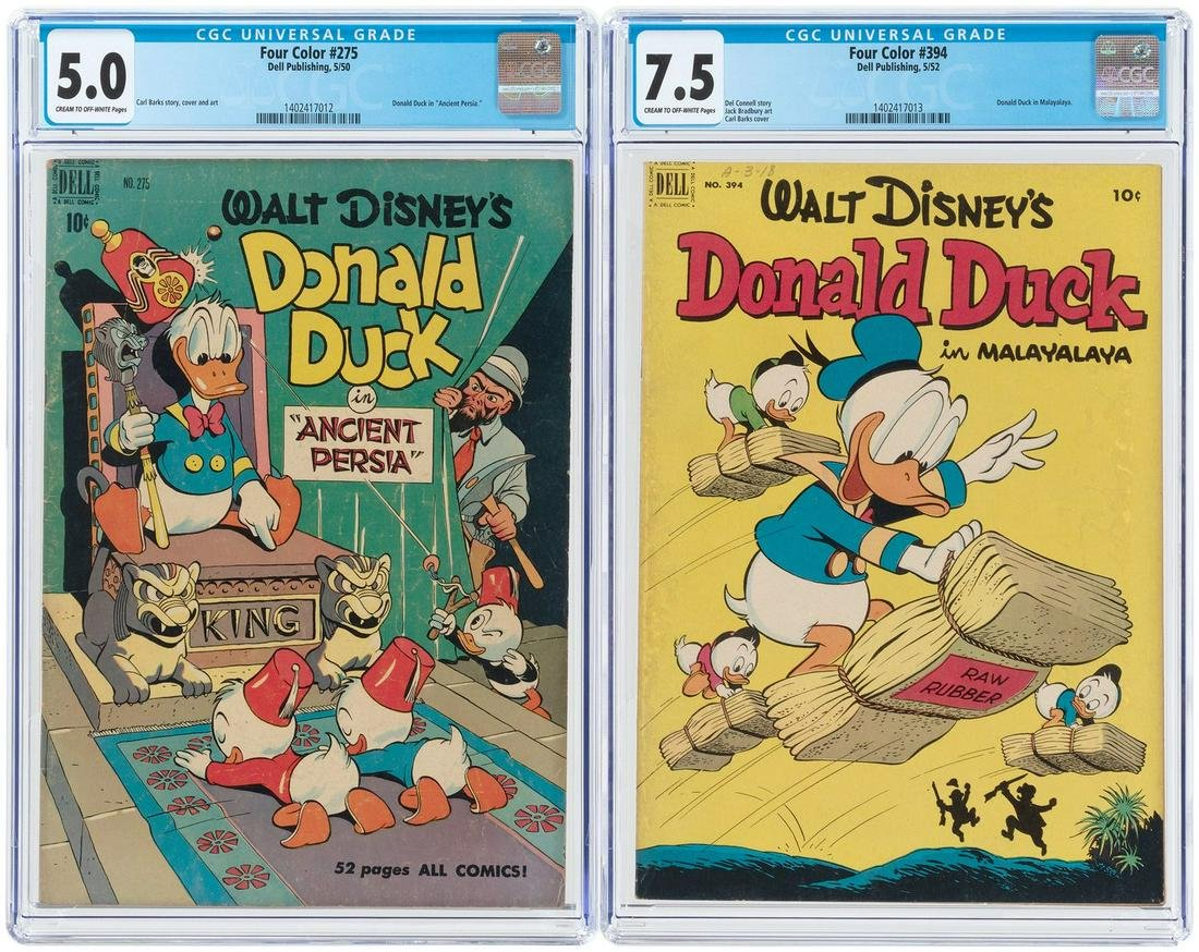 """FOUR COLOR"" #275 & #394 CGC PAIR (DONALD DUCK)."