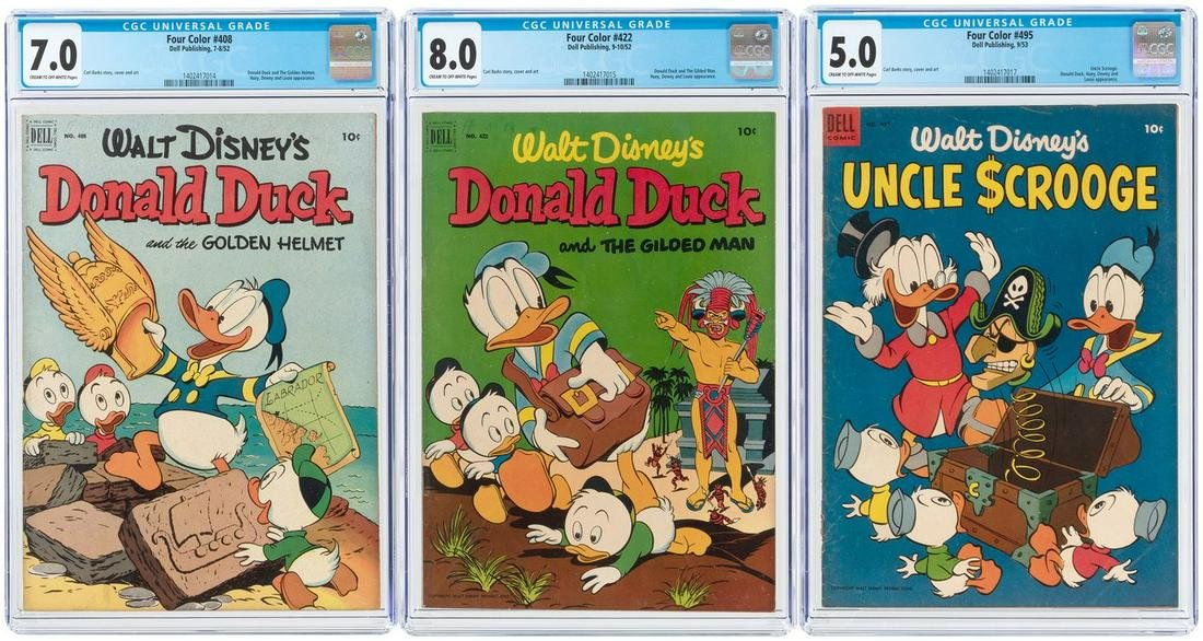 """""""FOUR COLOR"""" #408, #422 AND #495 CGC TRIO (DONALD DUCK"""