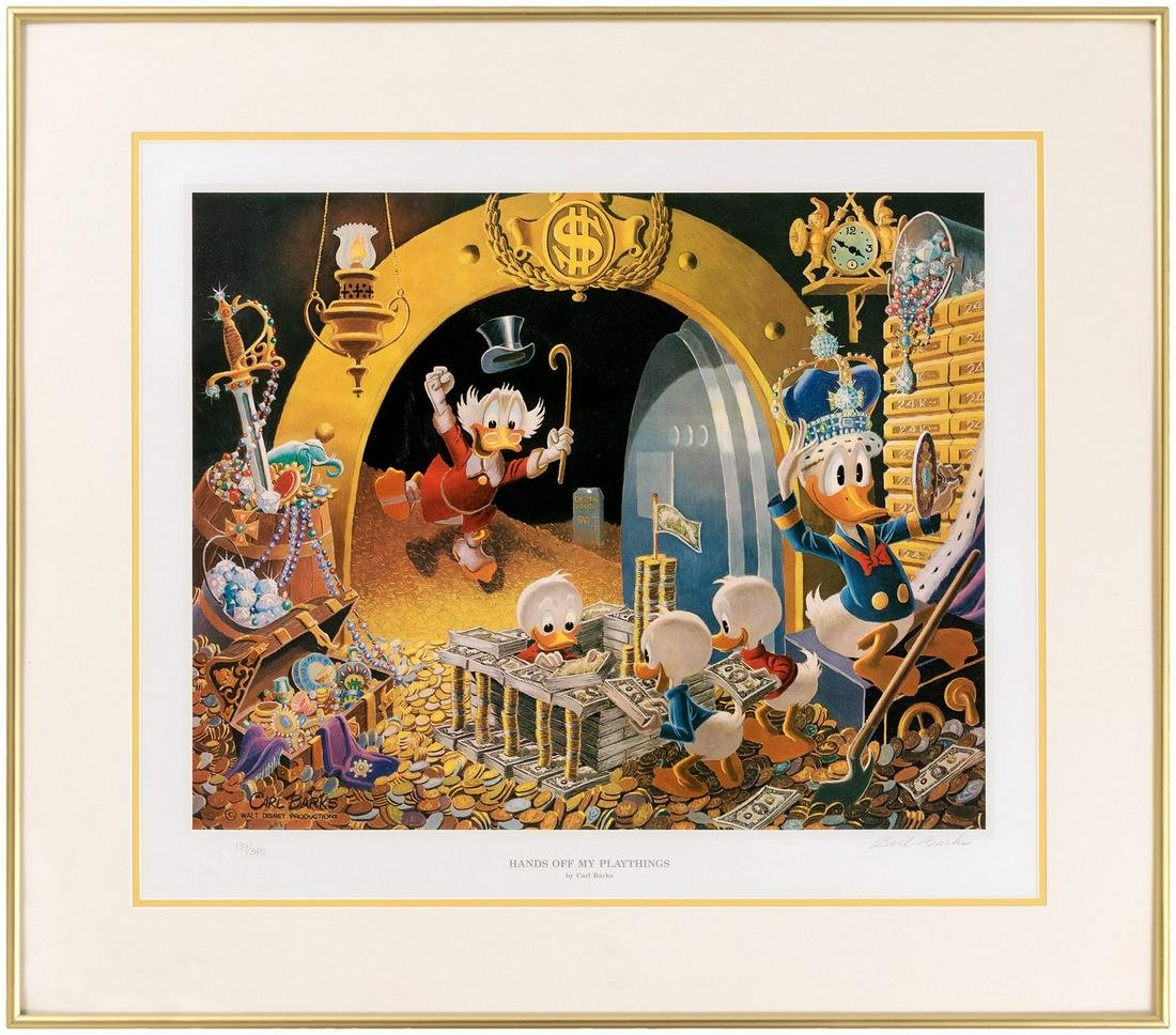 """CARL BARKS """"HANDS OFF MY PLAYTHINGS"""" FRAMED SIGNED &"""