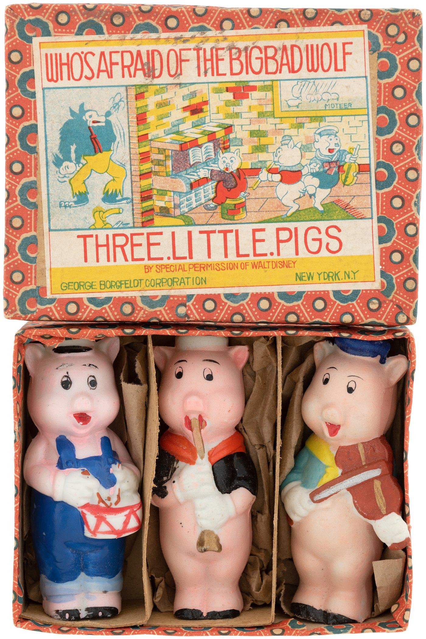 """THREE LITTLE PIGS"" MEDIUM SIZE BOXED BISQUE SET &"