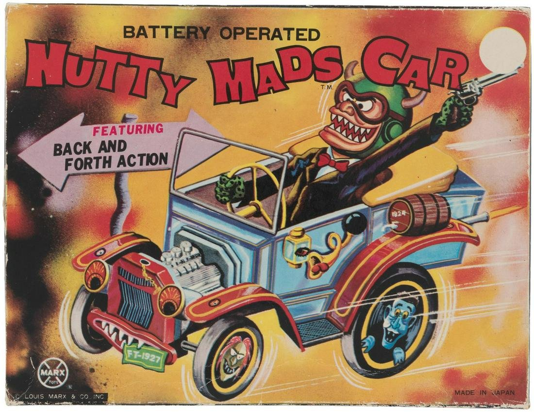 """MARX """"NUTTY MADS CAR"""" BOXED BATTERY-OPERATED TOY."""