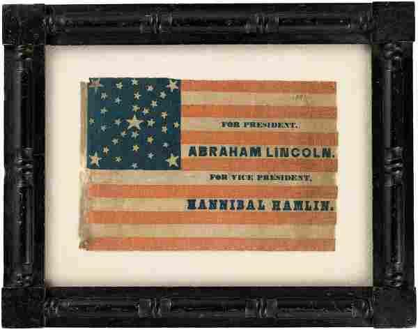 OUTSTANDING LINCOLN & HAMLIN 1860 CAMPAIGN PARADE FLAG.