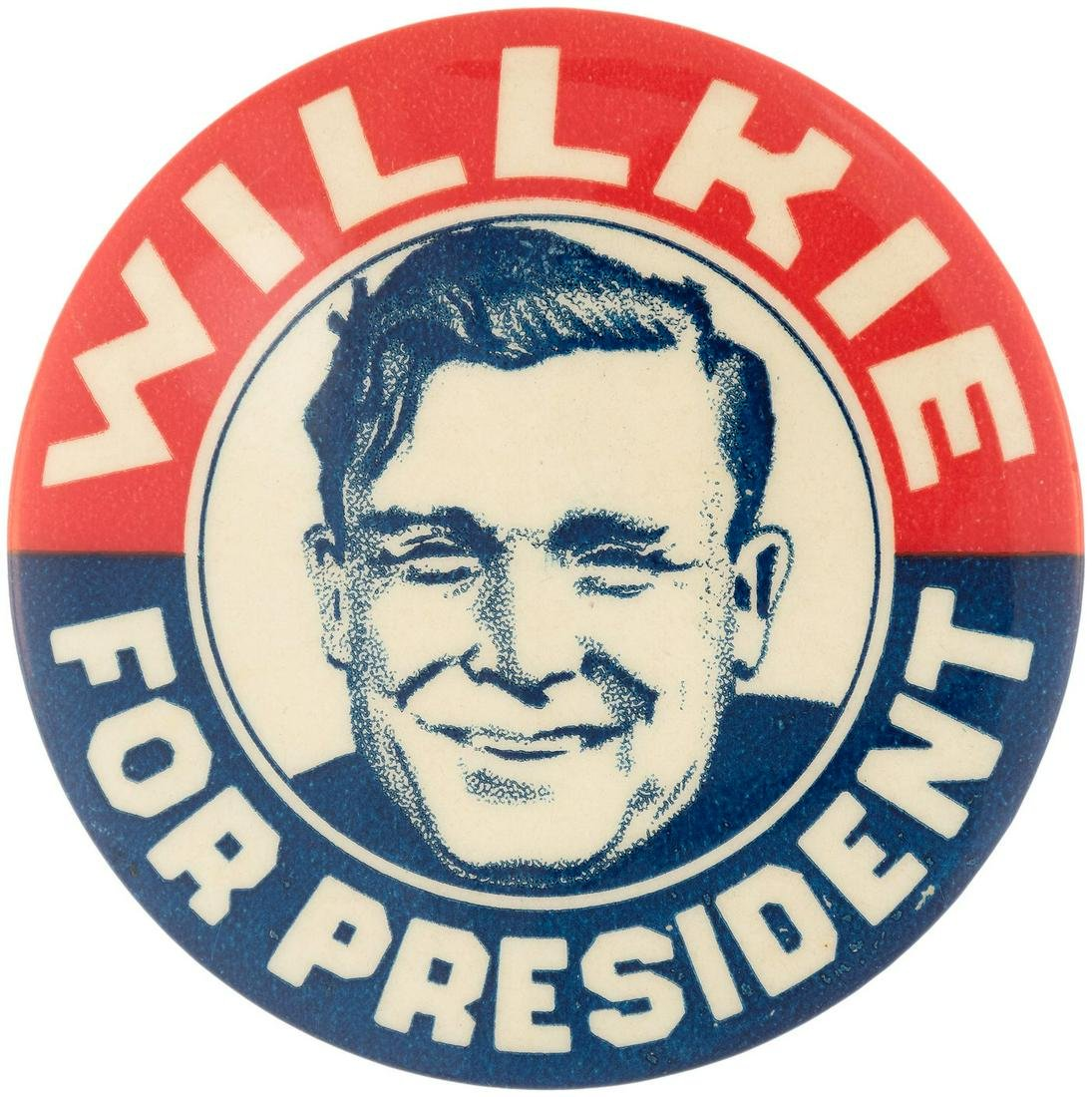 """""""WILLKIE FOR PRESIDENT"""" LARGE AND GRAPHIC BUTTON WITH"""