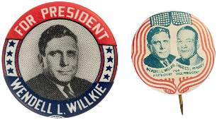 WILLKIE PAIR OF BUTTONS INCLUDING LITHO JUGATE AND
