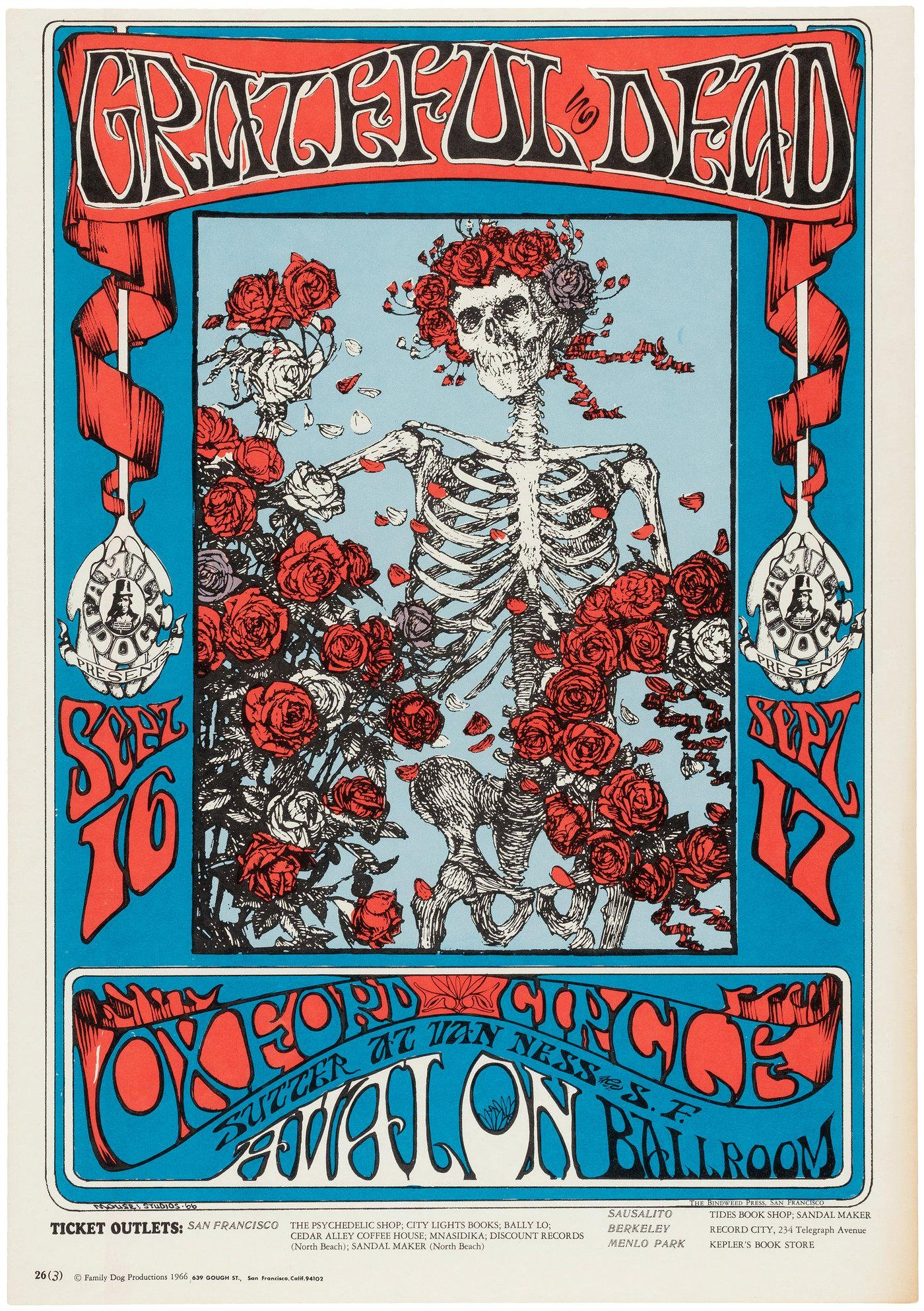 FAMILY DOG CONCERT POSTER FD-26 FEATURING THE GRATEFUL