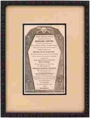 JOHN QUINCY ADAMS: 1828 ANTI JACKSON COFFIN HANDBILL.