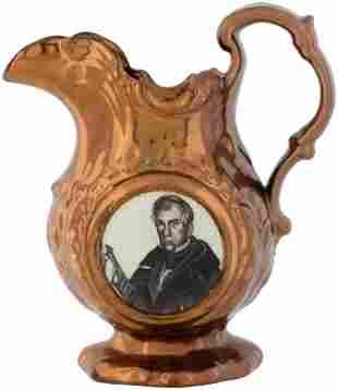 W. H. HARRISON 1840 COPPER LUSTER PITCHER.
