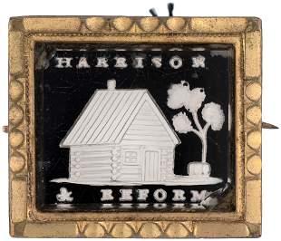 """HARRISON & REFORM"" LOG CABIN SULFIDE BROOCH DeWITT"