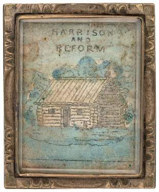 """""""HARRISON AND REFORM"""" 1840 HAND COLORED LOG CABIN"""