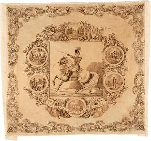 """""""WILLIAM HENRY HARRISON"""" 1840 CAMPAIGN TEXTILE WITH"""