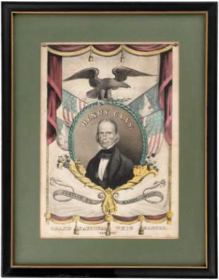 """HENRY CLAY """"GRAND NATIONAL WHIG BANNER"""" 1844 HAND"""