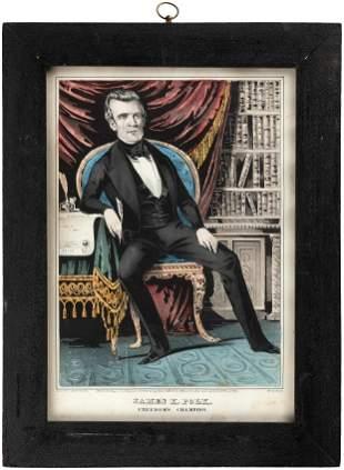 JAMES K POLK FREEDOMS CHAMPION 1844 HAND COLORED