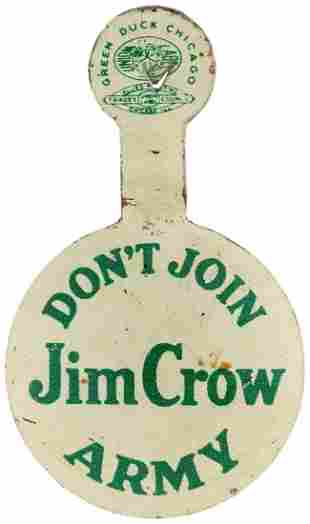 """""""DON'T JOIN JIM CROW ARMY"""" WWII CIVIL RIGHTS LITHO TAB."""