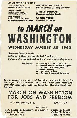 MARCH ON WASHINGTON AUG 28, 1963 MARTIN LUTHER KING