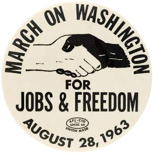"""RARE LARGE VERSION 3.5"""" BUTTON FROM HISTORIC 1963 MARCH"""